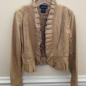 Moda International Genuine Leather Ruffle Jacket